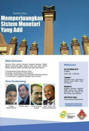 "SEMINAR ""MEMPERJUANGKAN SISTEM MONETARI YANG ADIL"" ANJURAN MMJ/MAIK diKB Kelantan 26hb Oktober 2016"